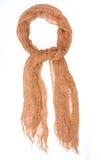 Sciarpa di seta di Brown isolata su fondo bianco Fotografie Stock
