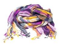 Sciarpa di seta multicolore isolata su bianco Fotografia Stock Libera da Diritti