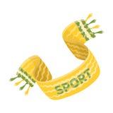 Sciarpa gialla del fan di calcio Singola icona di fan nell'illustrazione delle azione di simbolo di vettore di stile del fumetto Immagini Stock Libere da Diritti