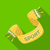Sciarpa gialla del fan di calcio Singola icona di fan nell'illustrazione piana delle azione di simbolo di vettore di stile Fotografia Stock