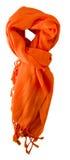 Sciarpa isolata su priorità bassa bianca Vista superiore della sciarpa feccie arancio Fotografie Stock Libere da Diritti