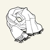 Sciarpa a strisce bianca e nera con frangia Fotografie Stock