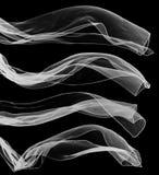 Sciarpa trasparente bianca su fondo nero fotografia stock