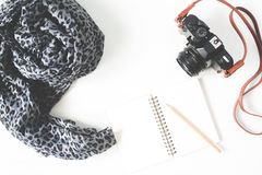 Sciarpa vuota del taccuino, della macchina da presa e della donna isolata sulle sedere bianche Fotografia Stock Libera da Diritti