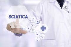 Sciatica Medicine doctor working with computer interface as medi Stock Images