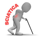 Sciatica Pain Indicates Vertebral Column And Back 3d Rendering Royalty Free Stock Images