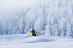Sciatore in alte montagne Fotografia Stock