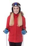 Sciatore attraente della ragazza su fondo bianco Immagine Stock