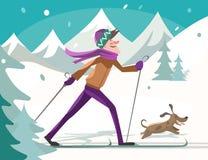 Sciatore con un cane Fotografia Stock Libera da Diritti