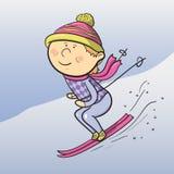 Sciatore del fumetto di vettore Fotografia Stock