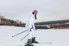 Sciatore del principiante nell'area dello sci immagine stock libera da diritti