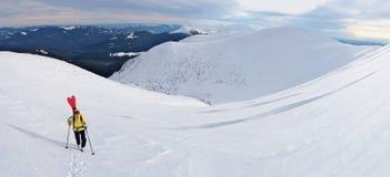 Sciatore di visita alpino che fa un'escursione in montagne di inverno Fotografie Stock