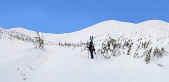 Sciatore di visita alpino in montagne di inverno Fotografia Stock Libera da Diritti
