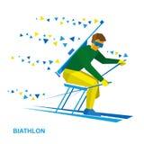 Sciatore disabile di biathlon con un fucile Fotografia Stock