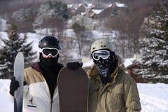 Sciatore e Snowboarder Fotografie Stock