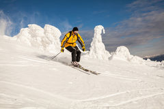 Sciatore in montagne Fotografie Stock