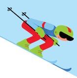 Sciatore sull'illustrazione della montagna Illustrazione Vettoriale
