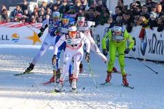 Sciatore svedese Eriksson nella corsa di Milano nella città Fotografie Stock Libere da Diritti