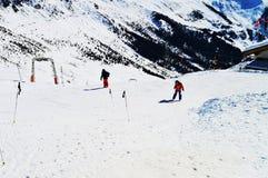 Sciatori in alpi svizzere Fotografia Stock Libera da Diritti
