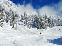 Sciatori alpini sui pendii nevosi Fotografia Stock