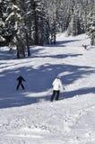 Sciatori di festa un giorno della polvere al passaggio bianco Ski Area, Stato del Washington immagini stock