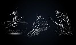 Sciatori metallici messi Illustrazione lineare cromata di sport dello sci per l'insegna di sport, fondo illustrazione vettoriale