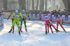 Sciatori Visnar e Crawford nella corsa di Milano Fotografie Stock Libere da Diritti