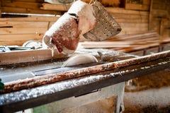 Scie industrielle de circulaire dans l'usine de production de bois photographie stock