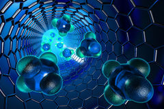 Science. Molecules moving inside the nanotube. Hi-res digitally generated image Stock Images