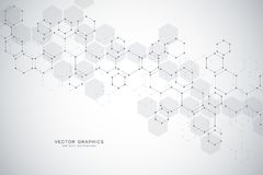 Science abstract background with hexagons and molecules. Science abstract background with hexagons and molecules Stock Images
