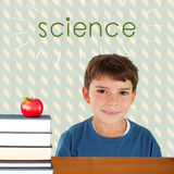 Science against red apple on pile of books Royalty Free Stock Image