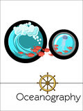 Science alphabet  flash card letter O is for Oceanography. Stock Photography