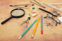 Science And Education - Desktop Scientist Objects Royalty Free Stock Photography