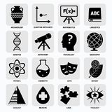 Science areas icons black Stock Photos