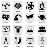 Science areas icons black Royalty Free Stock Photos