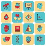 Science areas icons flat line Stock Photos