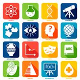 Science Areas Icons Royalty Free Stock Photography