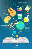 Science, art, maths and creativity tool icon is flying from an o. Pen open book to represent learn and knowledge concept infographic design with sample text Stock Image