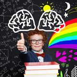 Science and arts occupations. Creativity education, new ideas and right and left hemispCreativity child boy on blackboard. Creativity child boy on blackboard royalty free stock images