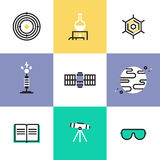 Science and astronomy pictogram icons set. Science experiment and space mission discovery, chemistry research analysis, solar system and astronomy education Royalty Free Stock Photography