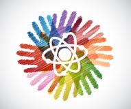 Science atom over diversity hands circle Stock Photos
