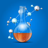 Science background with abstract molecules and chemical flask Royalty Free Stock Photos