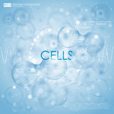 Science background with cells HUD. Blue cell background. Life and biology, medicine scientific, bacteria, molecular Royalty Free Stock Photo