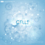 Science background with cells HUD. Blue cell background. Life and biology, medicine scientific, bacteria, molecular. Research DNA. Vector illustration 10eps Stock Image