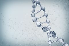 3d illustration of DNA molecule model from water. Stock Photos