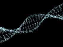 Science background with DNA molecules from water on black. 3D Stock Image