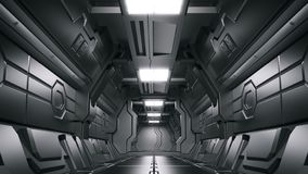Science background fiction interior rendering sci-fi spaceship corridors,3D rendering royalty free illustration