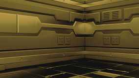 Science background fiction interior rendering sci-fi spaceship corridors, 3D rendering royalty free illustration