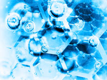 Science background illustration, blue chemical structure Royalty Free Stock Photography