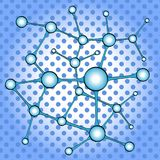 Science background with molecule or atom pop art. Science background with molecule or atom, Abstract atom or molecule structure for Science or medical Stock Photo